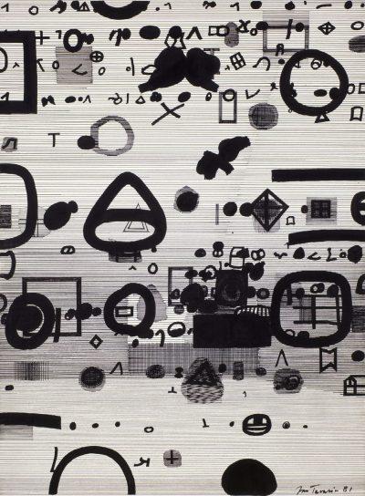 Jan Tarasin, Zapis I, 1981, tusz, piórko na papierze 70,5 x 50,5 cm; źr. Zachęta