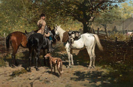 Józef Brandt - Stajenny z wierzchowcami, 1883; źr. Polswiss (Aukcja Dzieł Sztuki 8.10.2019)