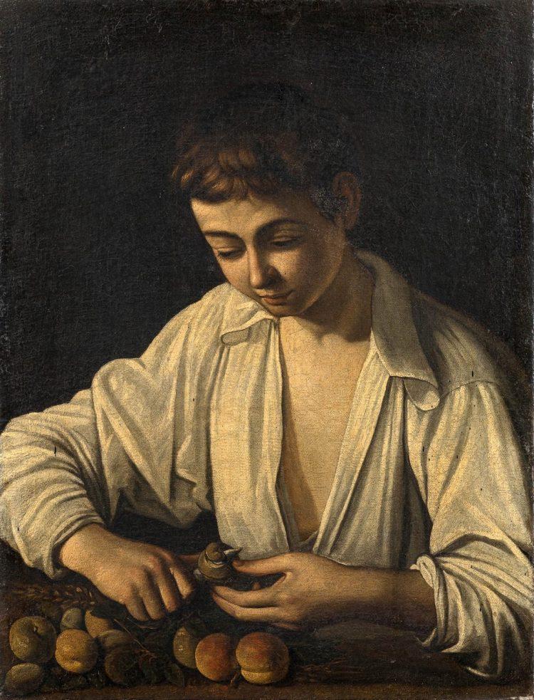 Michelangelo Merisi da Caravaggio, Jüngling beim Schälen einer Frucht, 1592-93, źr. Leo Spik