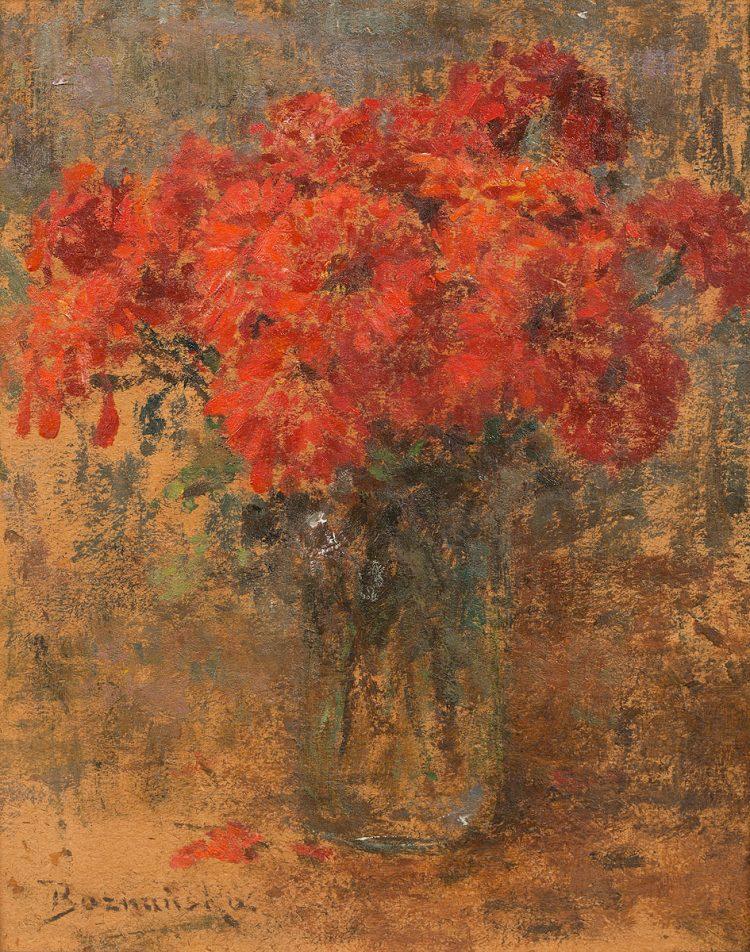 Olga Boznańska, Czerwony kwiaty w wazonie, b.d ; źr. Polswiss (Aukcja Dzieł Sztuki 8.10.2019)