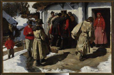 Włodzimierz Tetmajer, Muzykanci w Bronowicach. przed karczmą, 1891; źr. Muzeum Narodowe w Warszawie