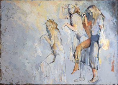 Sylwia Mużyło, Czekam aż przestanie padać, 100 x 140 cm, olej na płótnie, 2019
