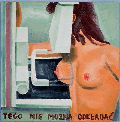 Marcin Maciejowski, Tego nie można odkładać, 1999, olej / płótno, 74,5 × 73,5 cm, courtesy of M. Maciejowski, Wystawa: Medycyna w sztuce źródło: MOCAK