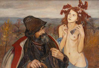 Wlastimil Hofman, Wędrowiec i muza, 1921, źródło: desa.pl