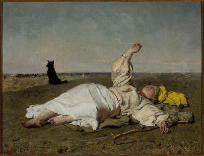 """Muzeum Narodowe w Warszawie / Józef Chełmoński, """"Babie lato"""", 1875."""