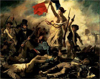 """Luwr / Eugene Delacroix, """"Wolność wiodąca lud na barykady"""", 1830."""