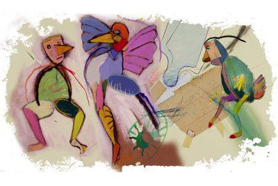 Andrzej Dudziński, Trójkąt radosny, z cyklu, I znowu daliśmy się zaskoczyć, inkografia z limitowanej edycji. Leonarda Art Gallery