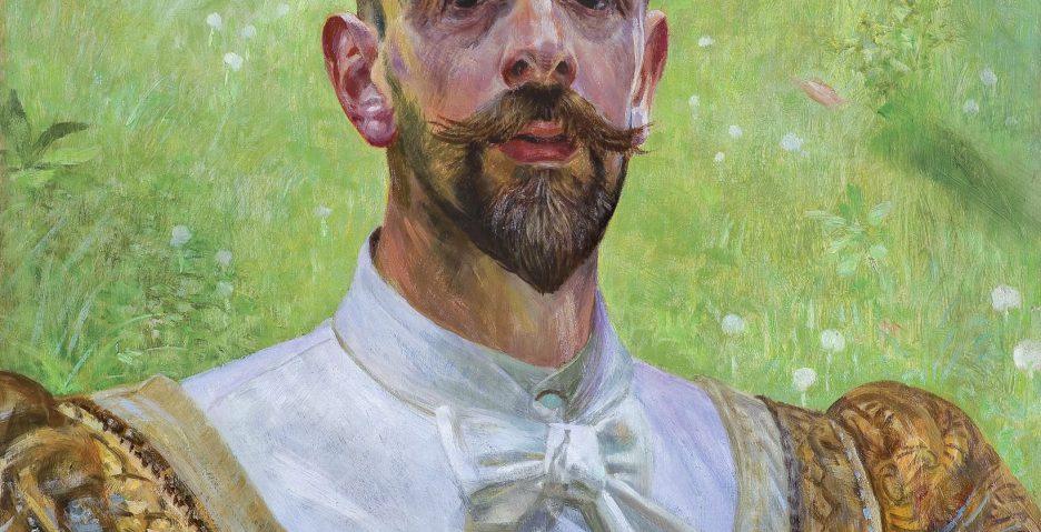 Jacek Malczewski, Autoportret z kwiatem koniczyny, 1909