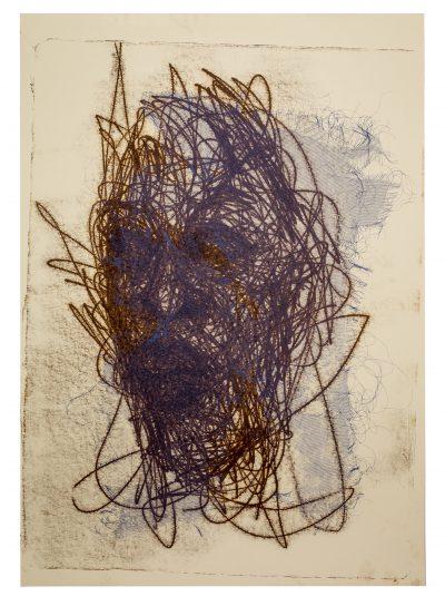 Admire Kamudzengerere Thread, 2019 Monotype, silkscreen and litho on paper 99 x 70 cm Courtesy of Catinca Tabacaru Gallery, New York, Harare, Bucharest, Targi Sztuki Artissima