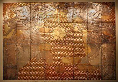Jean Dunand i Jean Dupas , Panel Rydwanów Aurory , lakier i metal, gesso (1935), ( Carnegie Museum of Art.