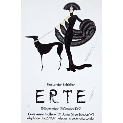"""Plakat autorstwa Erté ( Romain de Tirtoff) zatytułowany """"Symphony in Black"""" został opublikowany przez Grosvenor Gallery na wystawie Erte w Londynie w 1967 roku. Jest to pierwszy plakat artysty, jaki kiedykolwiek wyprodukowano, podpisany przez Erte, co czyni go wspaniałym przedmiotem kolekcjonerskim upamiętniającym to historyczne wydarzenie. Bardzo ograniczona liczba tych plakatów została odłożona i podpisana przez Erte w momencie publikacji. Ma ponad 40 lat i nie jest już drukowany, ale jest niezwykle rzadki."""