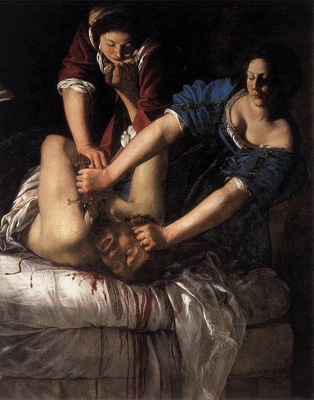 """Artemisia Gentileschi, """"Judyta zabijająca Holofernesa"""",1612-1613, źródło: Wikimedia Commons"""
