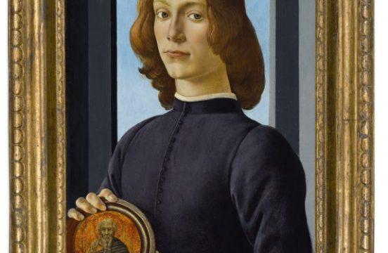 """Sandro Botticelli, """"PORTRET MĘŻCZYZNY Z MEDALEM"""" Tempera/panel (39,4 cm), Sotheby's"""